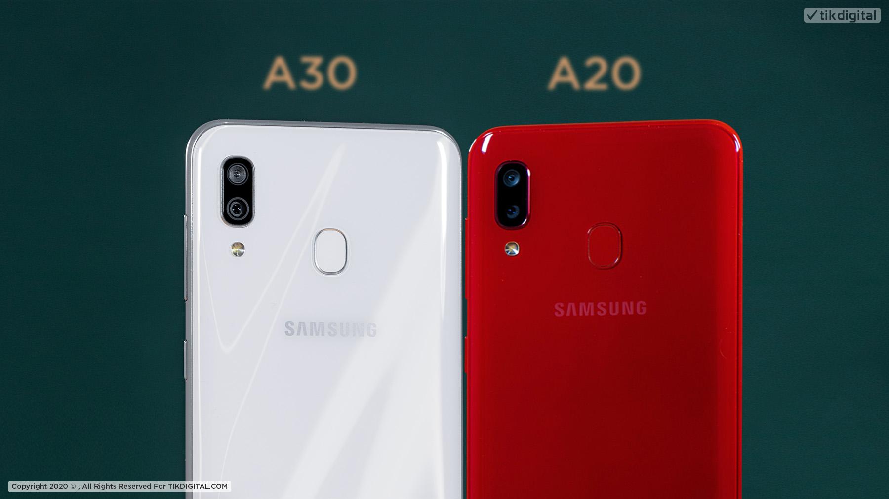 A30 و A20 مقایسه